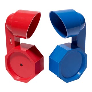 Postmodern Red and Blue Adjustable Table Lamps by Reiley Moustakas - a Pair For Sale