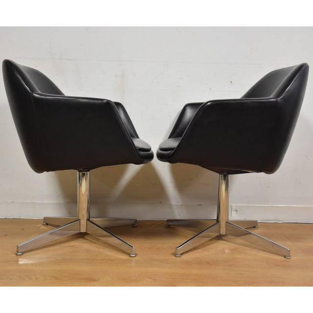 Steelcase Black & Chrome Lounge Chairs - A Pair - Image 5 of 9