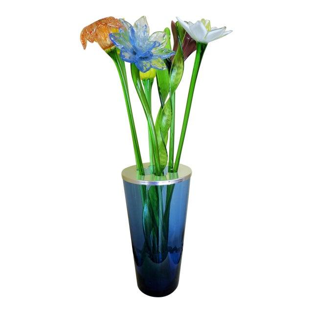 Handmade Fused Glass Flowers Leaves In Vase Chairish