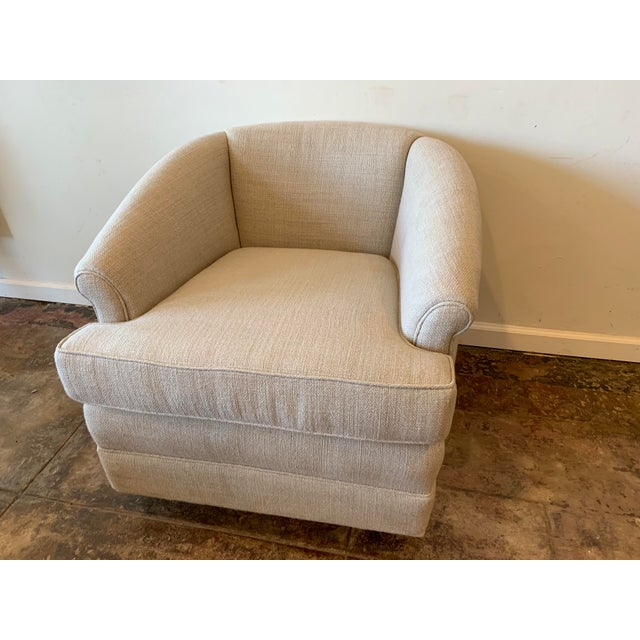 1950s Vintage Curve Back Natural Linen Swivel Chairs- A Pair For Sale - Image 4 of 7