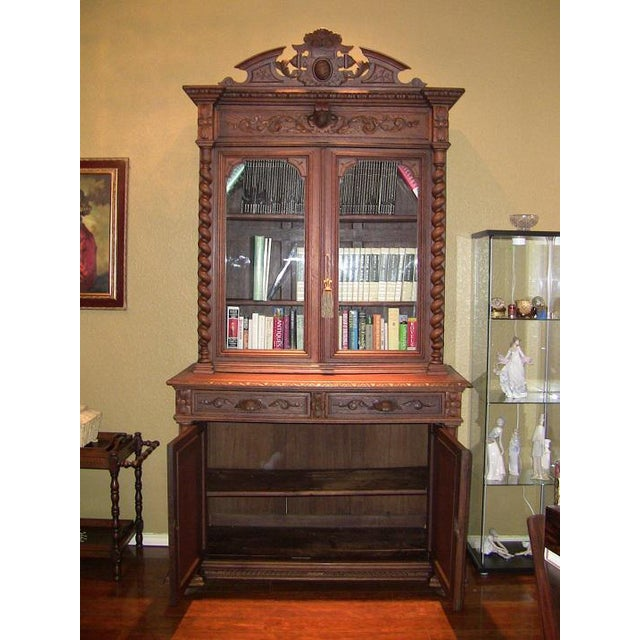 French Early 19th Century French Provincial Highly Carved Oak Bookcase For Sale - Image 3 of 13