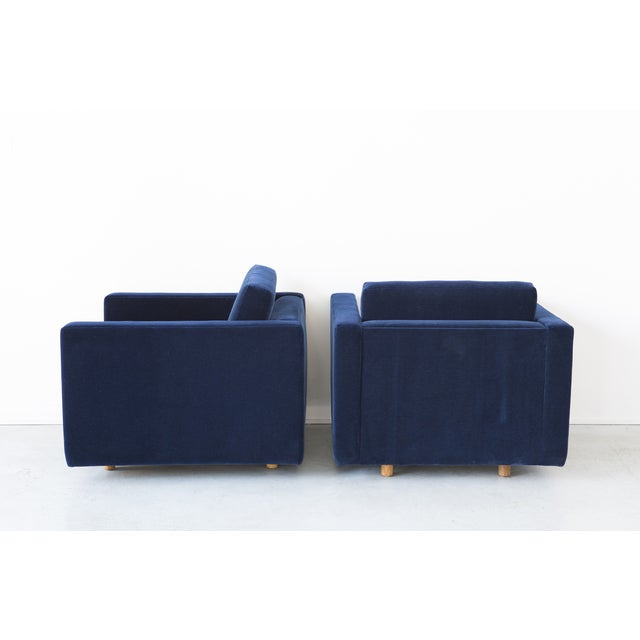 Jack Cartwright Blue Mohair Cube Chairs - Pair - Image 5 of 11