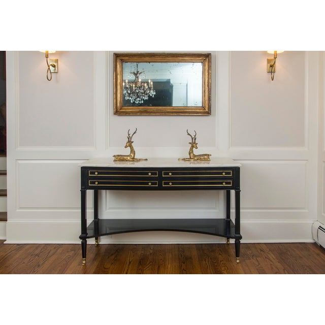 Maison Jansen French Regency Style Black Lacquer Sideboard With White Marble Top Style of Maison Jansen For Sale - Image 4 of 13