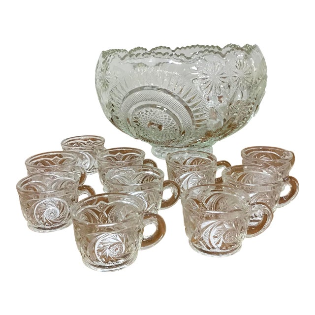 Vintage Cut Glass Punch Bowl & Cups - Set of 11 For Sale