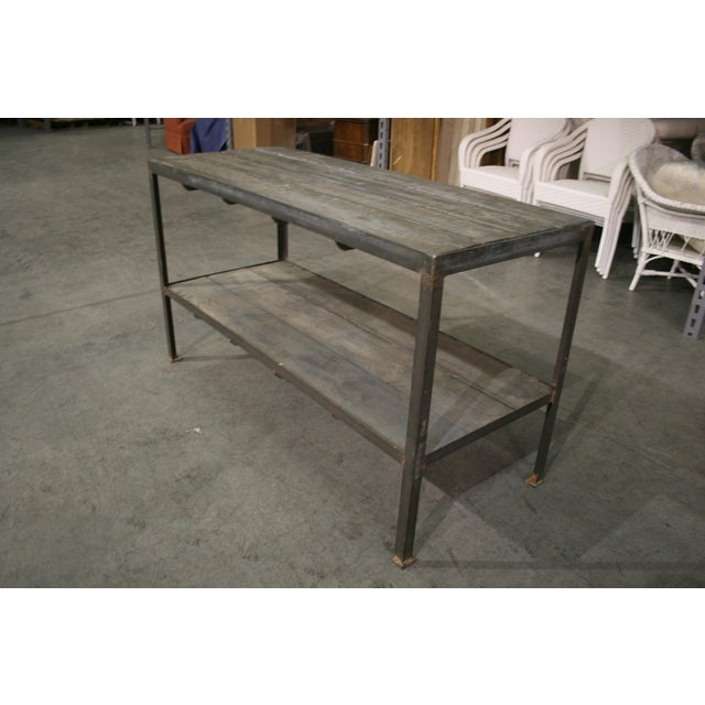 Mid Century Wood & Iron Work Table With Lower Shelf For Sale - Image 4 of 6