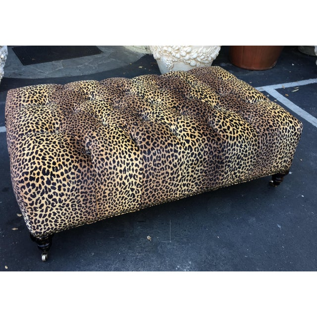 Superb Chelsea House Designer Leopard Tufted Ottoman. This lovely ottoman is a genuine designer original and features...