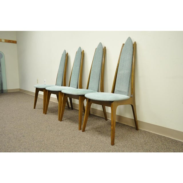 Danish Modern Set of 4 Vintage Mid Century Modern Sculptural Walnut Dining Chairs Danish Style For Sale - Image 3 of 11