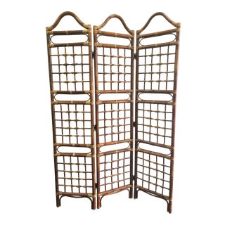 Rattan Bamboo Eclectic Room Divider