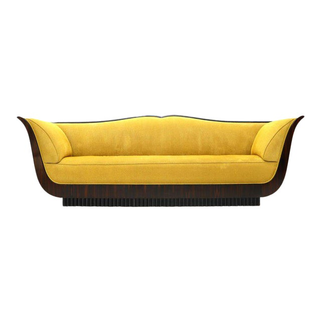 Large French Art Deco Rosewood Sofa in Gold Upholstery Scalloped Edge For Sale