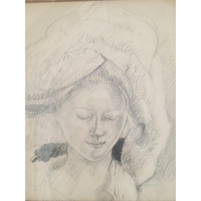 Illustration Woman in a Turban Pencil Illustration For Sale - Image 3 of 6