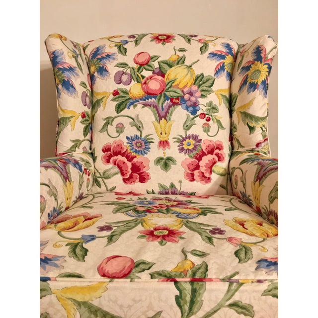 Light Yellow Newly Upholstered Georgian Style Wingback Chairs - a Pair For Sale - Image 8 of 11