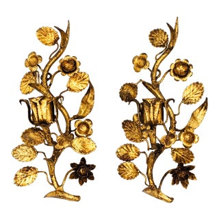 Mid-Century Italian Gold Gilt Floral Wall Sconce Candle Holders - a Pair For Sale