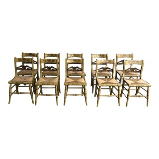Hitchcock Green Dining Chairs- Set of 10 For Sale