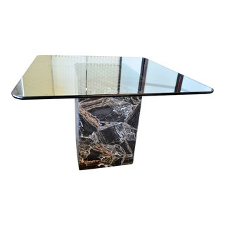 Italian Black and Gold Marble Dining Table Base and Glass For Sale
