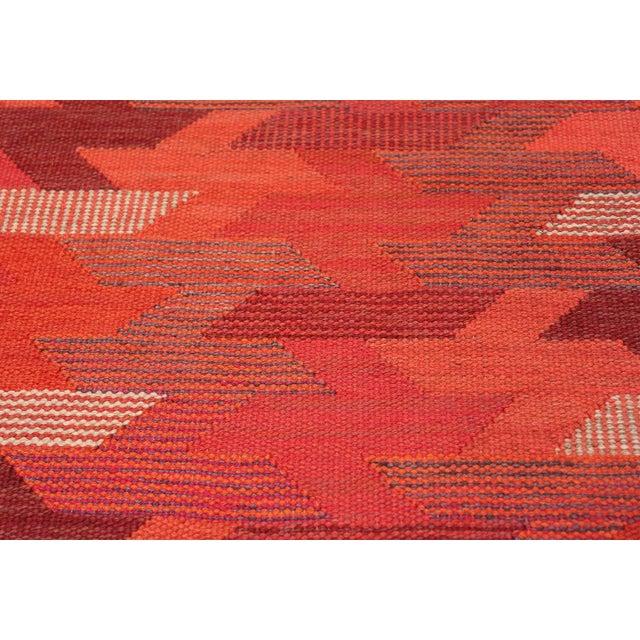 Barbro Nilsson Vintage Marta Maas Scandinavian Geometric Rug by Barbro Nilsson - 6′3″ × 8′2″ For Sale - Image 4 of 11