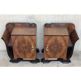 Pair of Art Deco Side Cabinets or Nightstands With Ebonized Base and Burl Walnut Preview