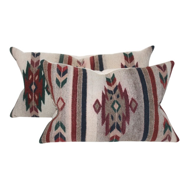 Native American Style Serape Pillows - A Pair For Sale