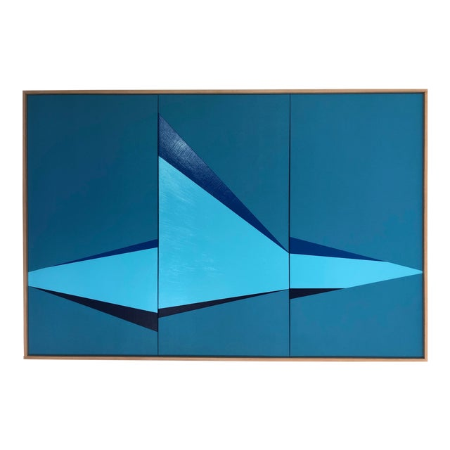 "Original Acrylic Painting ""Blue on Point Triptych Jet0564"" For Sale"