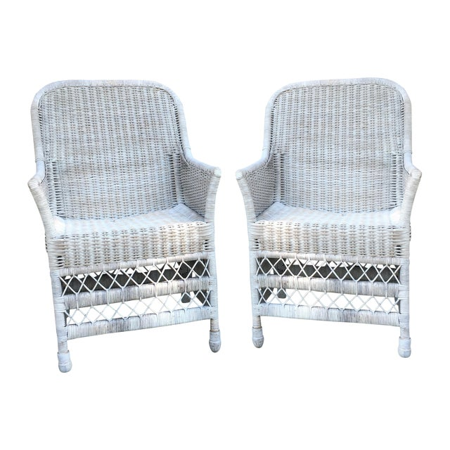 Shabby Chic White Wicker Chairs - a Pair - Image 1 of 7