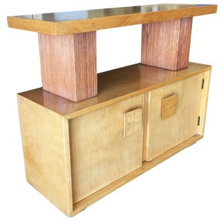 Paul Frankl Combed Wood Console Table Cabinet Brown Saltman For Sale