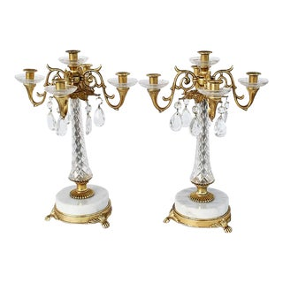 Vintage Louis XV or XVI Style Brass Marble Crystal and Acrylic 4 Arm Candelabras - a Pair For Sale