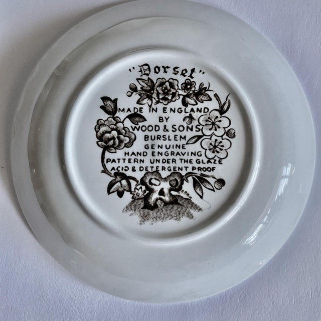 """Ceramic Small English Ironstone Brown Transferware Plated """"Dorset"""" by Wood & Sons, Pair For Sale - Image 7 of 8"""
