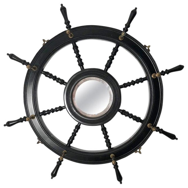 19th Century Ebonized and Turned Wood Ship's Wheel Mirror and Hat and Coat Rack For Sale