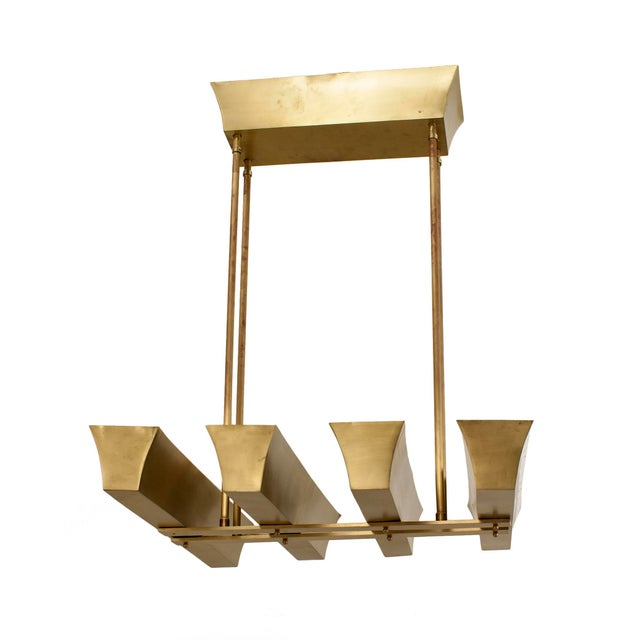 Art Deco American 1940s Brass Chandelier With Four Narrow Rectangular Uplight Panels For Sale - Image 3 of 4