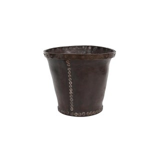 Distressed and Riveted Leather Wastebasket For Sale