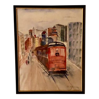 San Francisco Trolley Watercolor Painting, Framed For Sale
