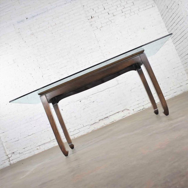 Wood Vintage Chinoiserie Chow Leg Glass Top Dining Table Walnut Color Finish For Sale - Image 7 of 13