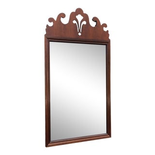 Solid Mahogany Wall Mirror by Baker For Sale