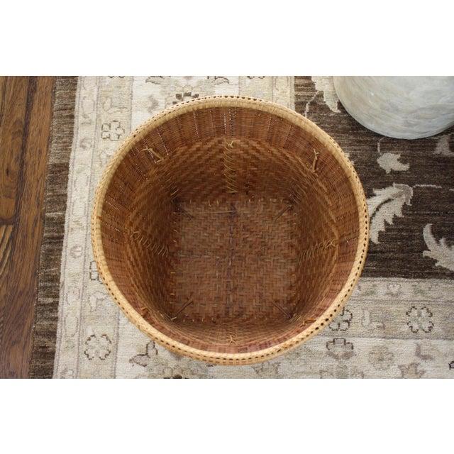 Brown Large Vintage Woven Basket Planter For Sale - Image 8 of 13