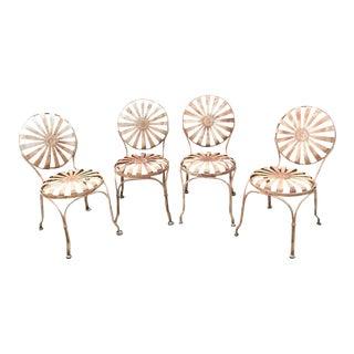1930s Art Deco Francois Carre French Sunburst Garden Metal Chairs - Set of 4