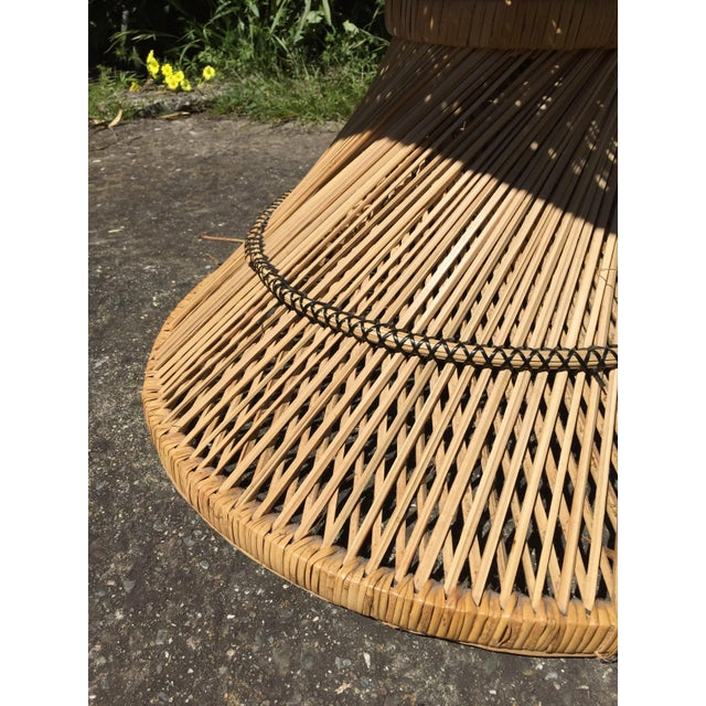 1970s 70s Boho Rattan Hourglass Dining Table For Sale - Image 5 of 8