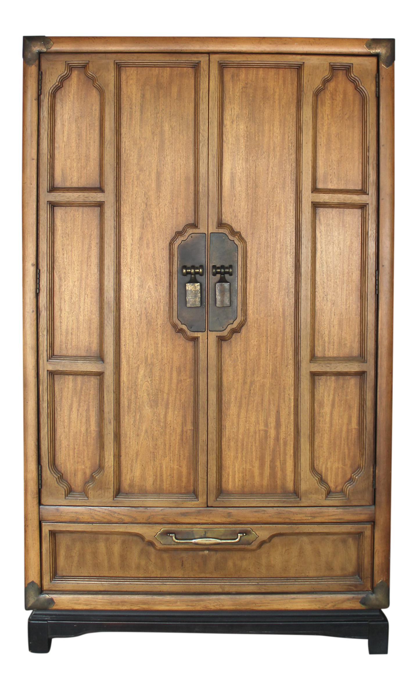 Asian Campaign Walnut Armoire   3 Drawers With Dividers