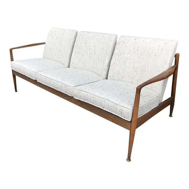 1960's Danish Modern Walnut Framed Sofa For Sale