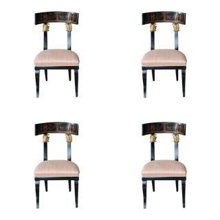 Set of Four Baltic Neoclassic Ebonized and Penwork Klismos Chairs For Sale