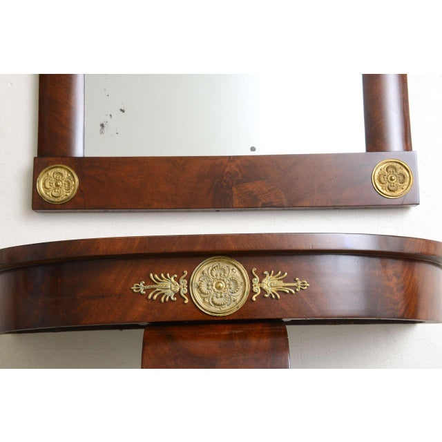 19th Century Austrian, Biedermeier Wall-Hung Demi lune Console with Mirror For Sale - Image 10 of 11