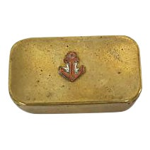 Antique Brass Sailors Snuff Box For Sale