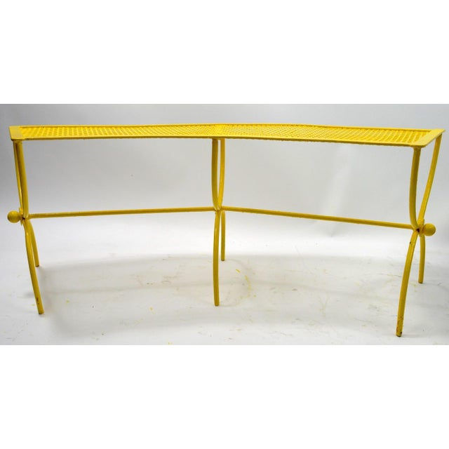 Yellow Curved Garden Patio Benches by Salterini Pair Available For Sale - Image 8 of 12