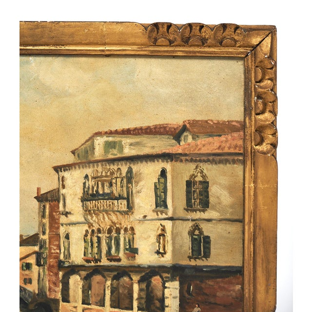 Oil Paint Antique Oil on Canvas of Venice For Sale - Image 7 of 10