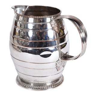 Antique English Silver Plate / Copper Water Pitcher For Sale