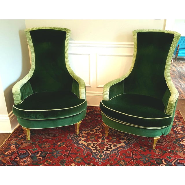 Green Emerald Green Velvet Club Chairs - A Pair For Sale - Image 8 of 8