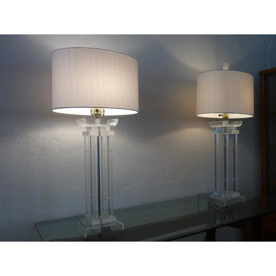 Asian Style Lucite Lamps - Pair - Image 2 of 6