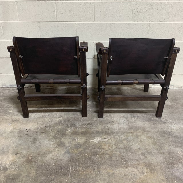 Leather Safari Sling Chairs - a Pair For Sale - Image 4 of 12