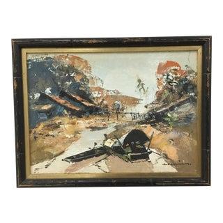 1960s Vintage Oil on Canvas Vietnamese Landscape Painting For Sale