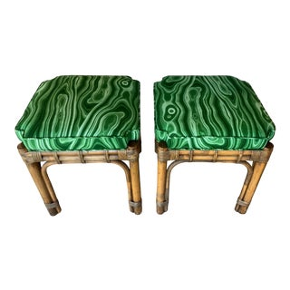 Vintage Rattan Malachite Newly Upholstered Benches Stools - a Pair For Sale