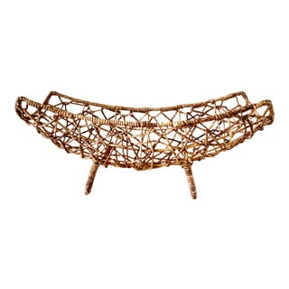 Large Bohemian Open Weave Decor Basket For Sale