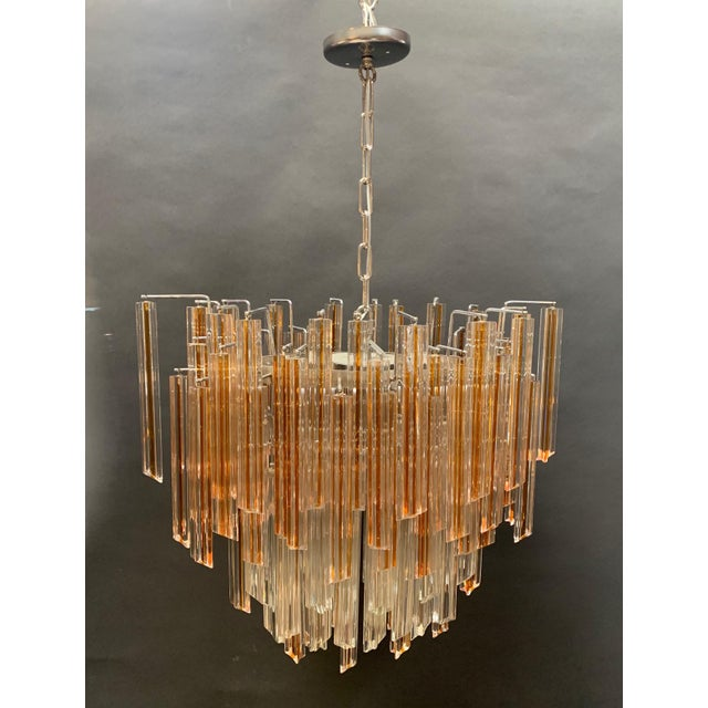 Transparent Vintage 1970s Venini Murano Glass Chandelier For Sale - Image 8 of 12